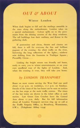 Poster; Out and about; winter London, by Molly Moss, 1950