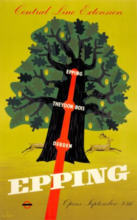 Poster; epping - central line extension, by k g chapman, 1949