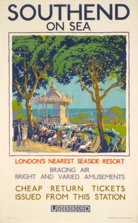 Poster; Southend-on-Sea; bandstand, by Walter E Spradbery, 1928