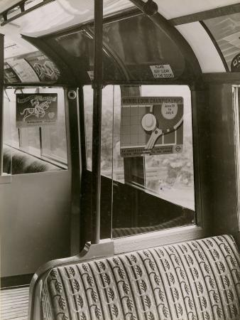 B/w print; 1938 tube stock, interior of a trailer car by topical press, jul 1939