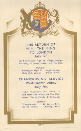 poster the return of h m the king to london by austin cooper 1929