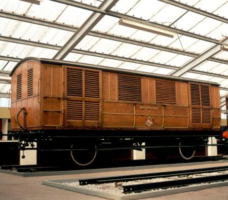 Colour transparency, metropolitan railway milk van number 3 (1896), on display at syon park transport museum by lt advertising and publicity, circa 1973