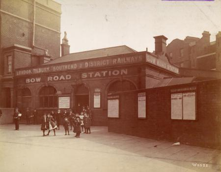 BW print; group of children at Bow Road Underground station, 1908