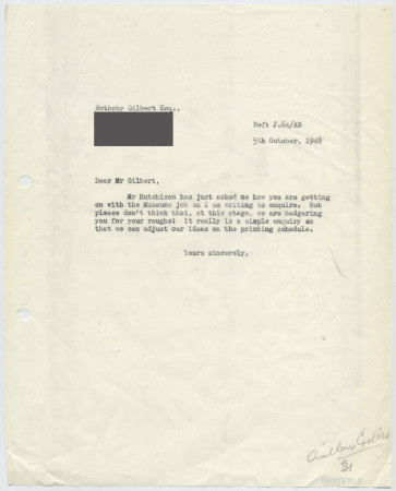 Related object: Letter; from Harold Hutchison to Anthony Gilbert about his poster design, 5 October 1948