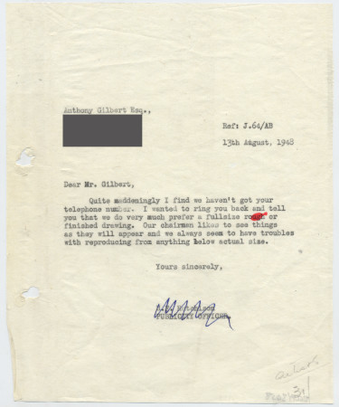 Related object: Letter; from Harold Hutchison to Anthony Gilbert about his poster design, 13 August 1948