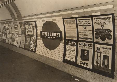 Bw glass neg; Dover Street now Green Park Underground station, Piccadilly line by Topical Press, 1923