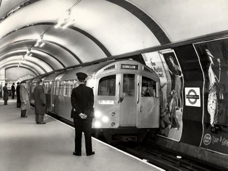 BW print; An electric multiple unit of 1956-tube stock aluminium or silver Underground stock by Dr Heinz Zinram, 30 December 1958
