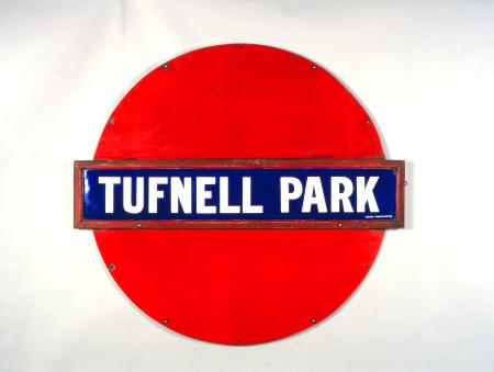 Station name sign; Plate from a solid disc roundel from Tufnell Park station, 1908