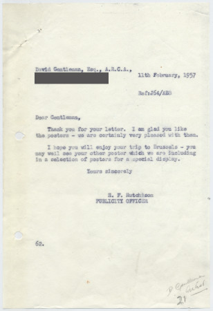 Related object: Letter; from Harold Hutchison to David Gentleman about his current poster design, 11 February 1957