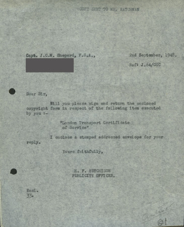 Related object: Letter; from H. F. Hutchison to Charles Shepard (Shep), 2 September 1948