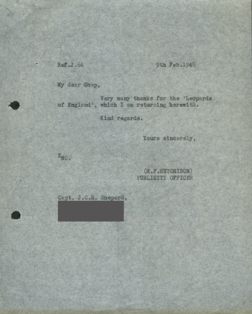 Related object: Letter; from H. F. Hutchison to Charles Shepard (Shep), 9 February 1948