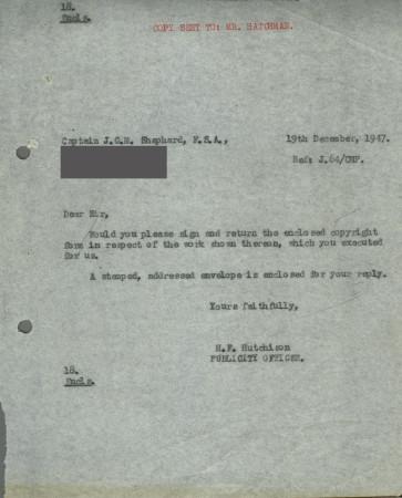 Related object: Letter; from H. F. Hutchison to Charles Shepard (Shep), 19 December 1947