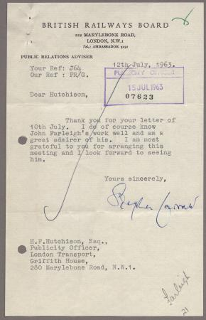 Related object: Letter from Stephen Garratt, British Railways Board, to Harold Hutchison, 12 Jul 1963