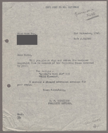 Related object: Letter; from Harold Hutchison to Nora Kay requesting her to sign copyright form for her poster design, 2 September 1948