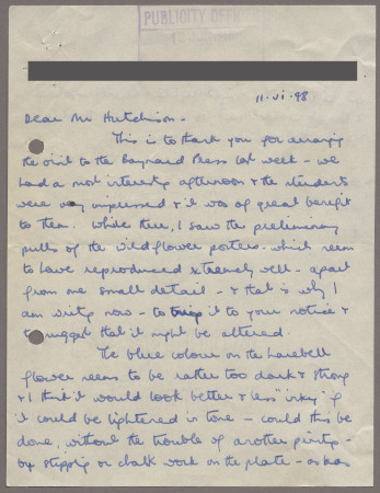 Related object: Letter; from Nora Kay to Harold Hutchison about her poster design and visit to the Baynard Press, 11 June 1948