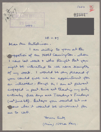 Related object: Letter; from Nora Kay to Harold Hutchison about a commission to design a poster, 30 May 1947