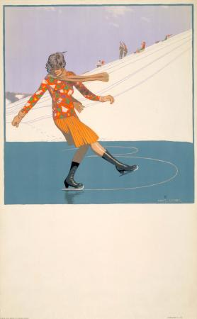 Poster; Winter scene; skating, by Charles Pears, 1928