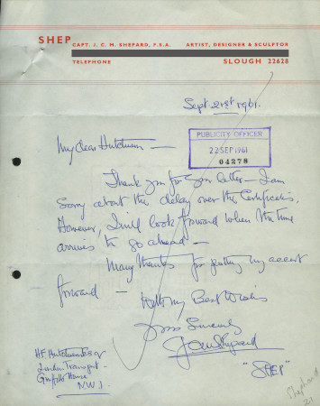 Related object: Letter; from Charles Shepard (Shep) to H. F. Hutchison, 21 September 1961