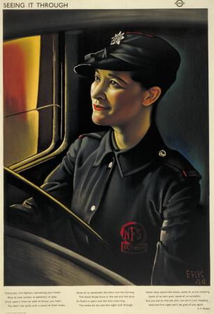 Poster; Seeing it through; firefighter, by Eric Henri Kennington, 1944