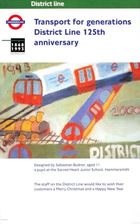 Poster; Transport for generations District line 125th anniversary, by Sebastian Budner, 1993