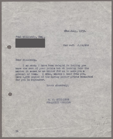 Related object: Letter; from Harold Hutchison to Paul Millichip about prints of his poster, 28 July 1959