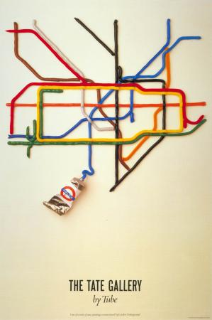 Poster; The Tate Gallery by Tube, by David Booth of the agency Fine White Line, 1987.