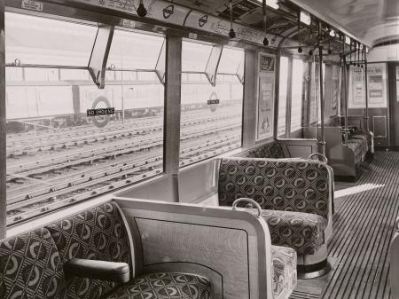 B/w print; interior view of new r49-stock non-driving motor car by colin tait, dec 1949