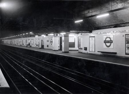 BW print; View of the westbound platform at Euston Square station by Colin Tait, 21 May 1970