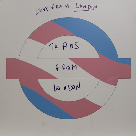 Sign; featuring a roundel in the Trans Pride colours, 2018