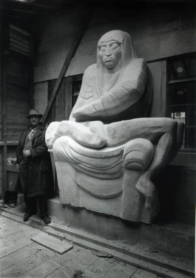 B/w print; jacob epstein with