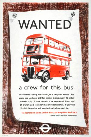 Poster; Wanted a crew for this bus, by Jack Maxwell, 1955
