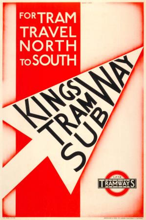Poster; For tram travel north to south, by Ralph and Mott, 1933
