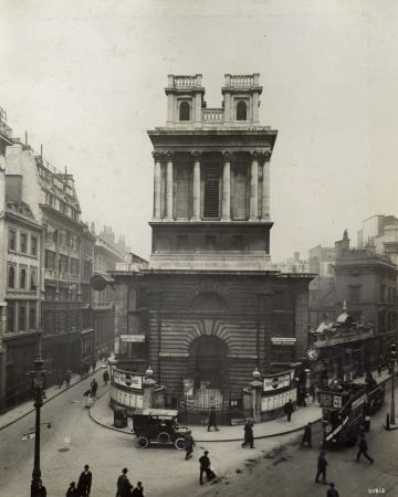 BW print; Principal front of the church of St Mary Woolnoth, by Topical Press, 25 May 1923
