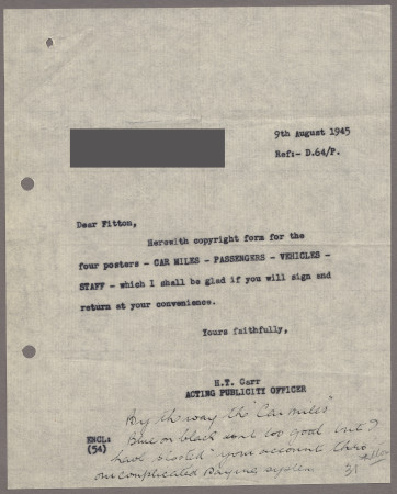 Related object: Letter; from H. T. Carr to James Fitton, 9 Aug 1945
