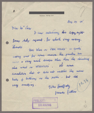 Related object: Letter; from James Fitton to H. T. Carr, 17 Aug 1945