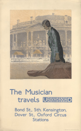 Poster; The musician travels Underground, by Charles Pears, 1930