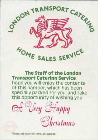 Leaflet; accompanying christmas hamper, issued by london transport catering, 1975