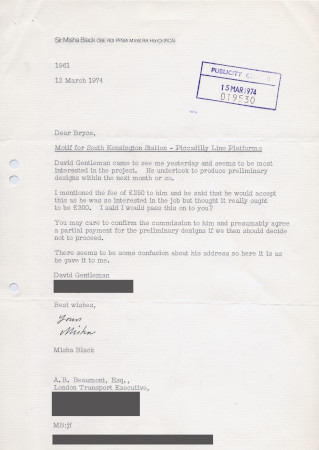 Related object: Letter; from Misha Black to Bryce Beaumont about David Gentleman designing a motif for South Kensington station, 12 March 1974