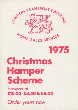 Form; order form for christmas hampers, issued by london transport catering, 1975