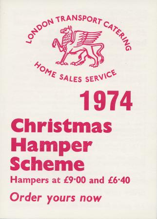 Form; order form for christmas hampers, issued by london transport catering, 1974