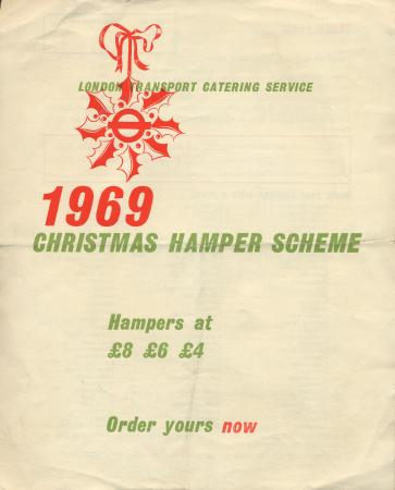 Form; order form for christmas hampers, issued by london transport catering, 1969