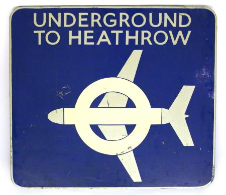 Related object: Commemorative sign; Headboard from the first train on the Heathrow extension of the Piccadilly line, 16 December 1977