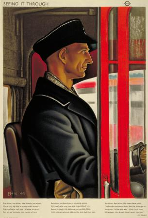 Poster; Seeing it through; bus driver, by Eric Henri Kennington, 1944