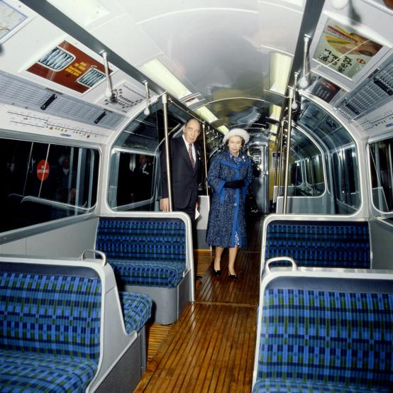 Colour transparency; queen elizabeth ii on piccadilly line 1973 tube stock, 16 december 1977