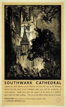 Poster; Southwark Cathedral, by Frank William Brangwyn, 1937