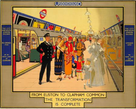 Poster; From Euston to Clapham Common the transformation is complete, by Richard T Cooper, 1924