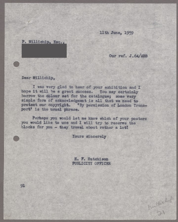 Related object: Letter; from Harold Hutchison to Paul Millichip about an exhibition of his paintings, 11 June 1959
