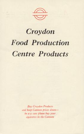 Price list; for food products available for home consumption made at croydon food production centre, issued by london transport, 1955