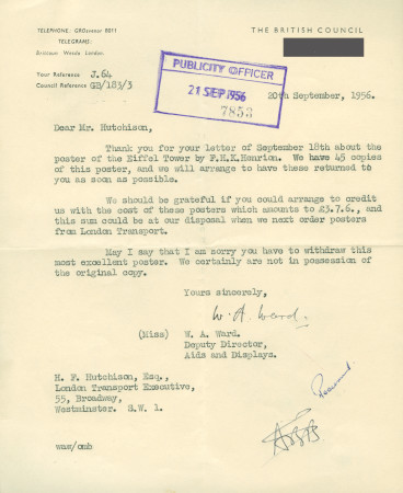 Related object: Letter; from Miss W.A. Ward, Deputy Director, Aids and Displays, The British Council  to Harold Hutchison, 20 Sep 1956