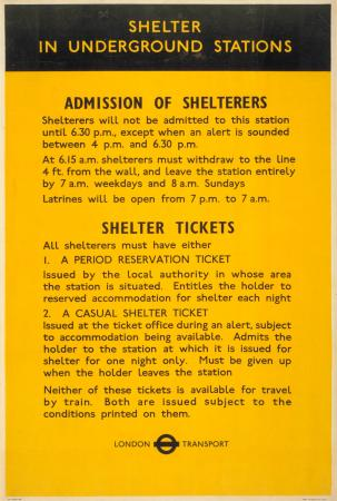 Poster; Admission of shelterers, 1941